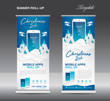 MOBILE apps Roll up banner template on Winter Landscape Background, Christmas sale, stand layout, blue banner, application presentation, infographics, advertisement, flyer, x-banner, j-flag, poster, advertisement, print media advertising. Illusztráció