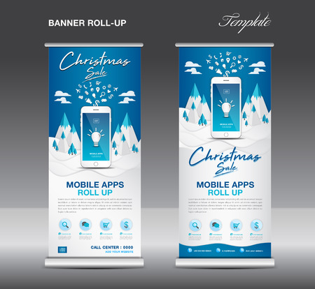 MOBILE apps Roll up banner template on Winter Landscape Background, Christmas sale, stand layout, blue banner, application presentation, infographics, advertisement, flyer, x-banner, j-flag, poster.