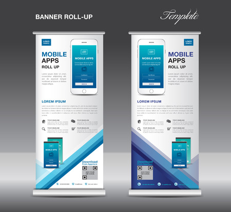 Mobile apps roll up banner template design.
