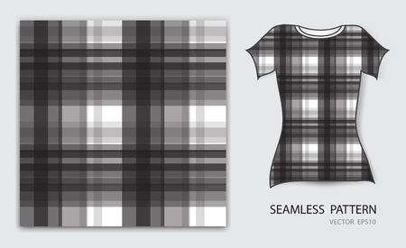 Black plaid tartan seamless pattern vector illustration, t shirt design, fabric texture, patterned clothing, abstract background