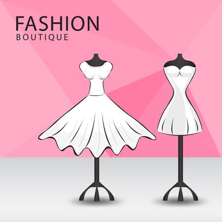 Fashion boutique facade, Clothes shop, women fashion design vector illustration.