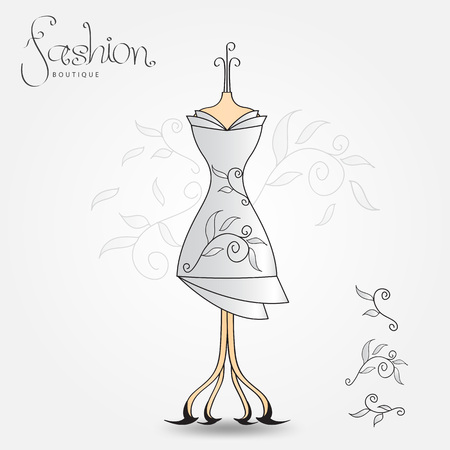 Fashion boutique, Evening dress, vintage icon vector illustration. Fabric pattern for clothes, textile, Women's clothing design, Isolated sign template, background