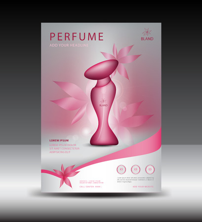 Pink Business brochure perfume in A4 size, Magazine Ads template, Cosmetics, Beauty, cover design. Vettoriali