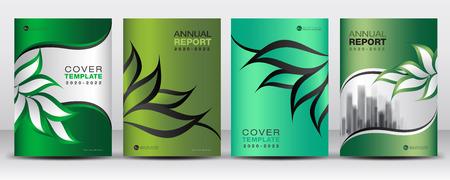 Green Cover ontwerpsjabloon vector, natuur organisch bladeren creatief idee, kan worden gebruikt om zakelijke brochure folder, jaarverslag, tijdschrift, poster, bedrijfspresentatie, portfolio, boek, folder, banner, bedrijfsprofiel, krant, drukmedia, website.