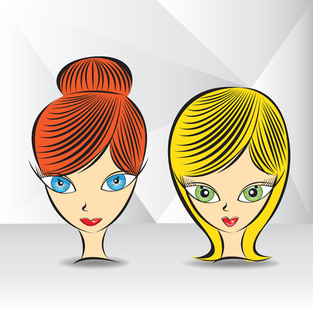 Young woman with various hairstyle and color vector illustration, Wig girl, woman's face, cartoon Banco de Imagens - 96667299