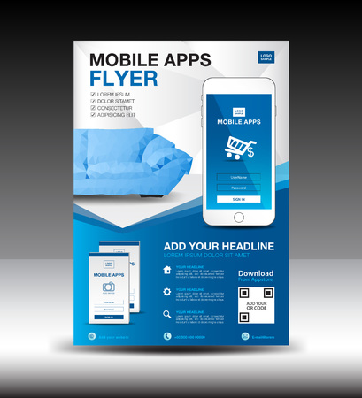 Mobile Apps Flyer template. Business brochure flyer design layout.