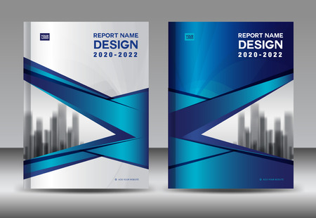 Report design template with blue cover design vector layout
