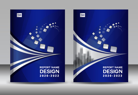 Report brochure template with a blue cover design layout