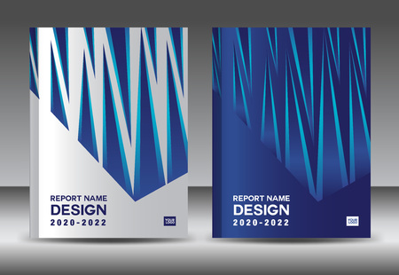 Report design template with white and blue cover design layout Ilustracja