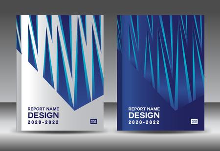 Report design template with white and blue cover design layout Ilustração