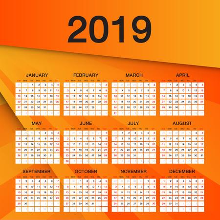 Simple calendar for 2019 Year, Week Starts Sunday, Orange flyer template design
