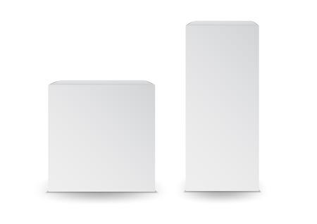 Białe pudełka, opakowanie, pudełko 3d, projekt produktu, ilustracja wektorowa. Ilustracje wektorowe