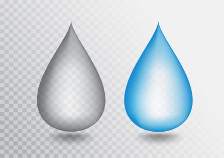 Blue droplet realistic vector illustration