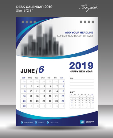 JUNE Desk Calendar 2019 Template flyer design vector illustration.