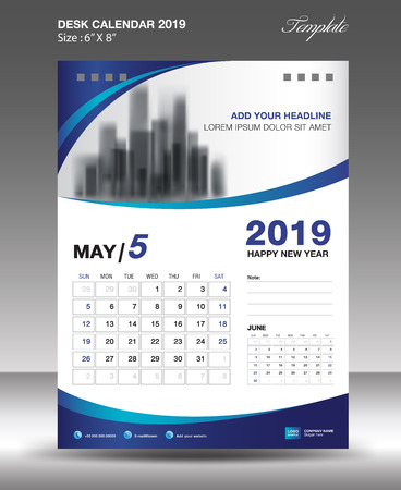 MAY Desk Calendar 2019 Template flyer design vector illustration.