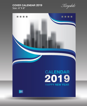 Blue Cover Desk Calendar 2019 Design, flyer template, ads, booklet, catalog, newsletter