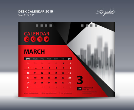 MARCH Desk Calendar 2019 Template, Week starts Sunday, Stationery design, flyer design vector, printing media creative idea design, red polygonal background concept, publication, advertisement