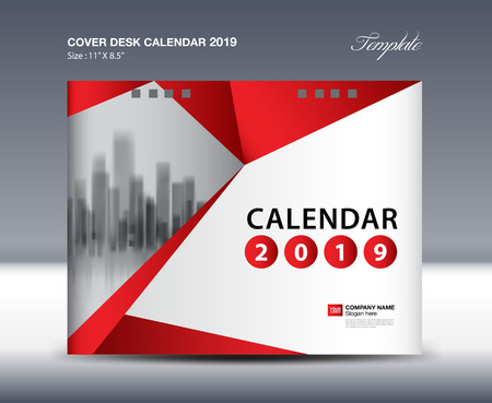 Cover Desk Calendar 2019 Design, flyer template, ads, booklet, catalog, newsletter, book cover, red background design