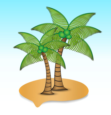 Tropical island with coconut tree icon vector illustration, web icon, Landscape, palm trees, summer