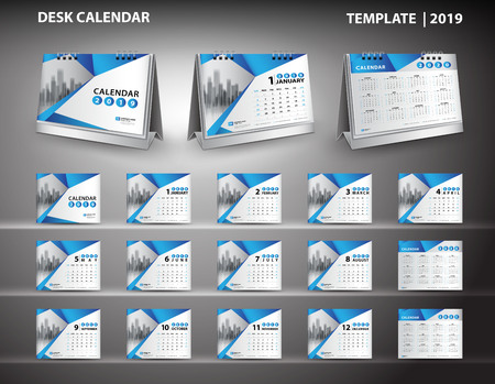 Set Desk Calendar 2019 template design vector and desk calendar 3d mockup