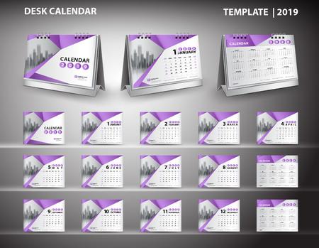 Establecer vector de diseño de plantilla de calendario de escritorio 2019 y maqueta 3d de calendario de escritorio
