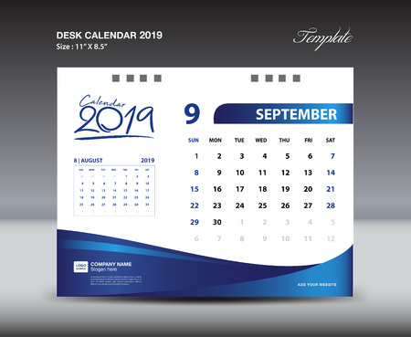 SEPTEMBER Desk Calendar 2019 Template, Week starts Sunday, Stationery design, flyer design vector, printing media creative idea design, blue background Vettoriali