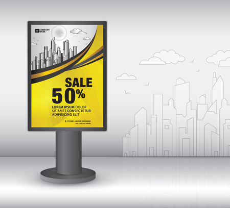 outdoor Lightbox template design, 3d Realistic construction for outdoor advertising on city background, vector template design