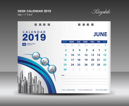 Biurko kalendarza 2019 rok szablon wektor wzór, miesiąc czerwca