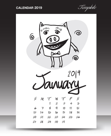 Pig calendar for 2019, Lettering calendar, January 2019 template, hand-drawn pig cartoon vector illustration Can be used for postcard, gift card, banner, poster, card and printable, china calendar