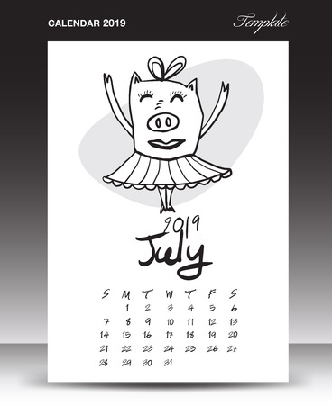 Pig calendar for 2019, Lettering calendar, July 2019 template, hand-drawn pig cartoon vector illustration Can be used for postcard, gift card, banner, poster, card and printable, china calendar
