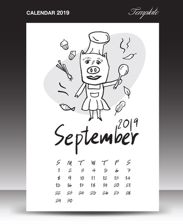 Pig calendar for 2019, Lettering calendar, September 2019 template, hand-drawn pig cartoon vector illustration Can be used for postcard, gift card, banner, poster, card and printable, china calendar Ilustração