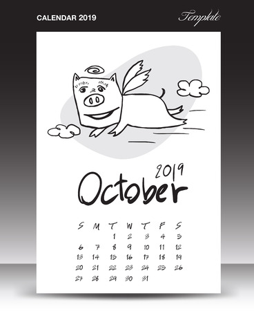 Pig calendar for 2019, Lettering calendar, October 2019 template, hand-drawn pig cartoon vector illustration Can be used for postcard, gift card, banner, poster, card and printable, china calendar