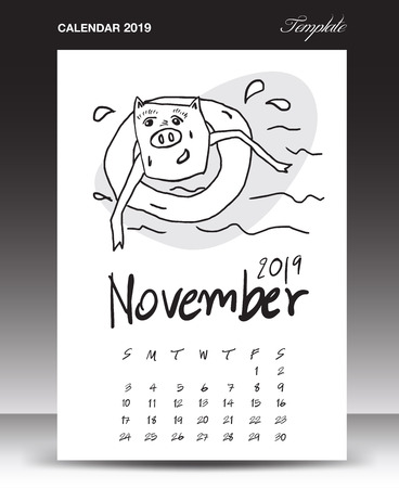 Pig calendar for 2019, Lettering calendar, November 2019 template, hand-drawn pig cartoon vector illustration Can be used for postcard, gift card, banner, poster, card and printable, china calendar