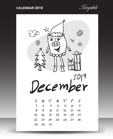 Pig calendar for 2019, Lettering calendar, December 2019 template, hand-drawn pig cartoon vector illustration Can be used for postcard, gift card, banner, poster, card and printable, china calendar