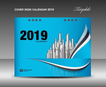 Cover Desk Calendar 2019 Design, annual report template, business brochure flyer, ads, booklet, catalog, book cover, wave background Çizim