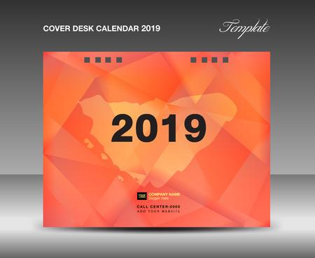 Cover Desk Calendar 2019 Design, annual report template, business brochure flyer, ads, booklet, catalog, book cover, polygonal background