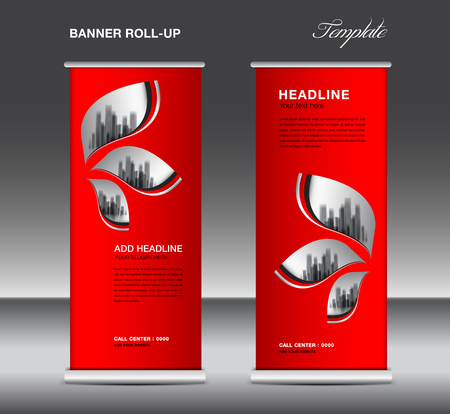 Red Roll up banner template vector, advertisement, x-banner, poster, pull up design, display, layout , business flyer, web banner, exhibition, stand, presentation, luxurious concept idea  イラスト・ベクター素材
