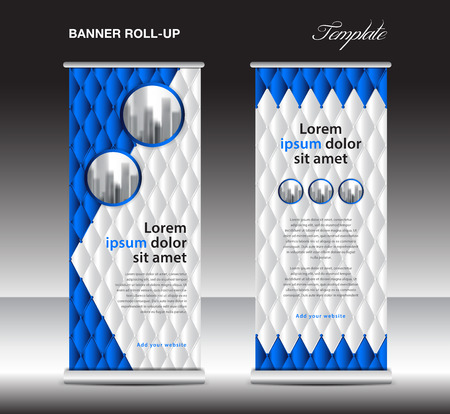 Blue Roll up banner template vector, advertisement, x-banner, poster, pull up design, display, layout , business flyer, web banner, exhibition, stand, presentation, luxurious concept idea