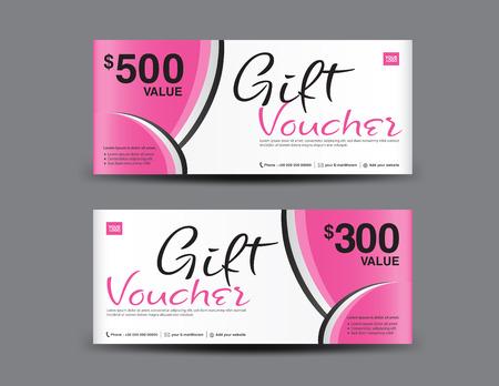 Roze cadeaubon sjabloon coupon ontwerp, certificaat, ticket sjabloon, korting lay-out, banner vectorillustratie, Valentijnsdag verkoop banner