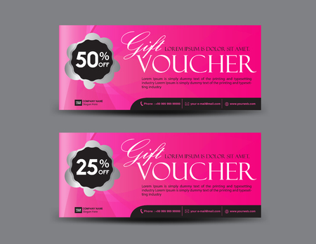 Pink Gift Voucher template, coupon design, certificate, ticket template, discount layout, banner vector illustration, Valentine's Day sale banner Archivio Fotografico - 126114273