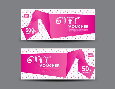 Pink Gift Voucher template, coupon design, certificate, ticket template, discount layout, banner vector illustration, Valentine's Day sale banner Archivio Fotografico - 126114275