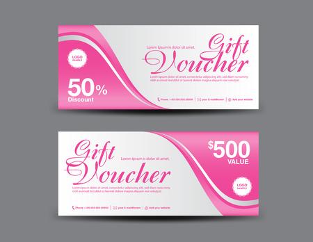 Modello di buono regalo rosa, design coupon, certificato, modello di biglietto, layout di sconto, illustrazione vettoriale banner, banner di vendita di San Valentino