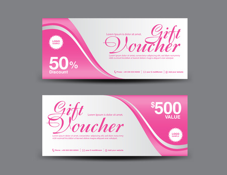Pink Gift Voucher template, coupon design, certificate, ticket template, discount layout, banner vector illustration, Valentine's Day sale banner
