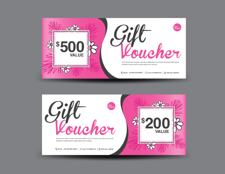 Layout modello buono regalo, design volantino aziendale, sfondo foglia giungla, coupon rosa, biglietto, carta sconto, illustrazione vettoriale banner, banner di vendita di San Valentino