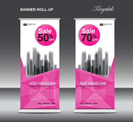 Pink Roll up banner template vector, advertisement, x-banner, poster, pull up design, display, layout, business flyer, sale web banner, exhibition, stand, presentation, valentines day concept idea