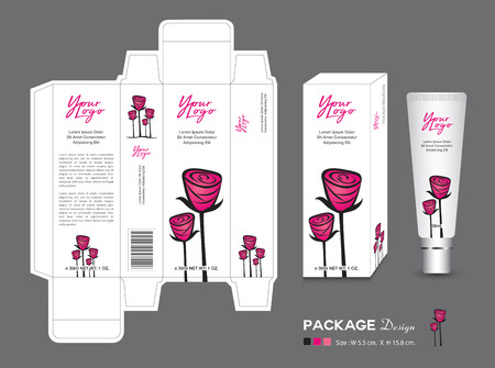Beauty Packaging template, 3d Box cosmetics, product design, Rose Packaging, healthy products, Cream layout, Fresh ecological, nature box, Body care, spa, lotion, shampoo, Realistic bottle mock up Stock Illustratie