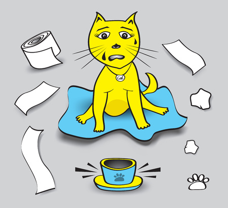 naughty cat vector illustration, cat play toilet paper, pet animal bowls without food, Cat cartoon Mascot