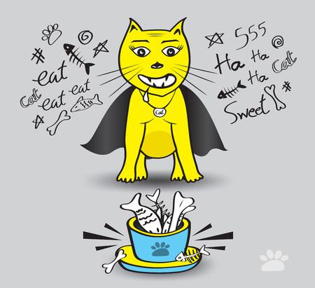 Yellow Cat eat fish vector illustration, Time to enjoy eating, Dracula cat, pet animal bowls with food, Cat cartoon Mascot
