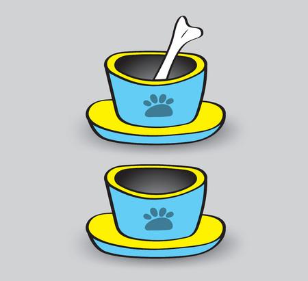pet animal bowls vector illustration, web icon, sign