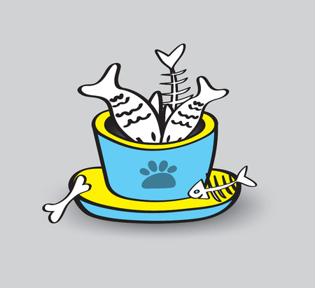 pet animal bowls with seafood vector illustration, web icon, sign, fish, Spread fish